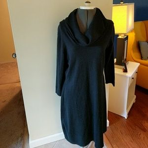 NWT Chaps Highland Black Cowl Dress Cotton Simpl